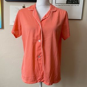 VTG 80s Sears Peach Pink White Trimmed Nylon Short Sleeve Button Up Pajama Top